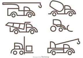Eenvoudige overzicht vrachtwagens pictogrammen vector