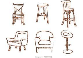 Krijt getekende stoelvectoren vector