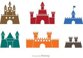 Kleurrijke Kasteel Pictogrammen Vector