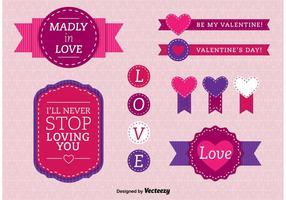 Liefde gestikte badges vector