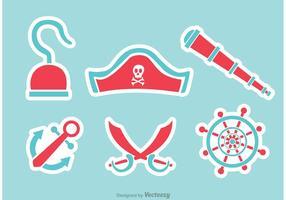 Piraat platte pictogrammen vectoren