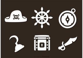 Piraat witte pictogrammen vectoren