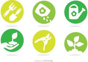 Vector iconen van het tuinieren cirkel