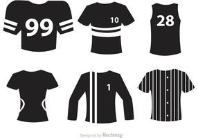 Sport jersey zwarte pictogrammen vectoren