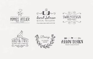 Gratis Handgetekende Logo Designs Vector