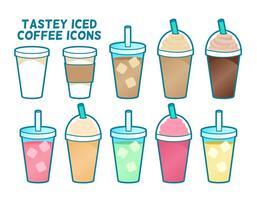 Tastey iced koffie gemaakt iconen vector