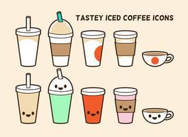 Iced koffie vector iconen