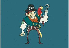 Hook en Eye Patch Piraat Met Papegaai Vector