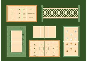 Volleyball Court Vector Diagrammen Set