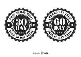 30 en 60 dagen proeftekens vector
