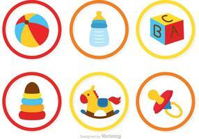 Verzameling Van Baby Speelgoed Pictogrammen Vector