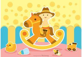 Baby ride rocking horse vector