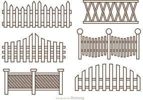 Omheining overzicht pictogrammen vector