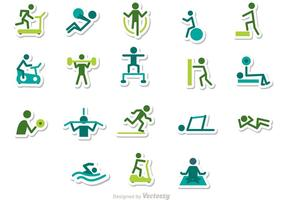 Fitness stick figuur iconen vector pack