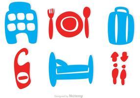 eenvoudige hotel iconen vector