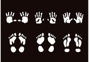 Kinderhanddruk- en voetafdrukvectoren