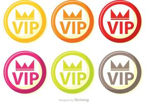 Kleurrijke Cirkel Vip Pictogrammen Vector Pack