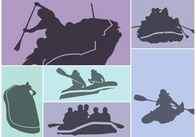 River rafting silhouet vector set