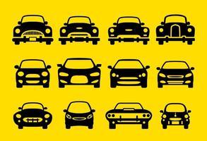 Voorzijde pictogrammen van de auto silhouet vector