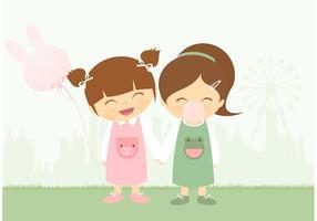 Gratis kleine meiden die plezier hebben met kauwbubblegum vector