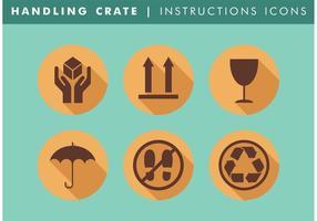Hantering Krat Instruksies Pictogrammen Vector Gratis