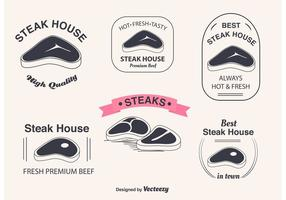 T-bone steak vector labels