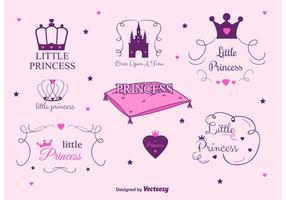 Set van Prinses Kasteel Vector Labels