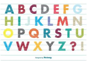Scribble style alfabet vector
