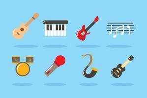 Platte muziekinstrumentvectoren