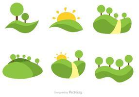 Vector rollende heuvels platte pictogrammen