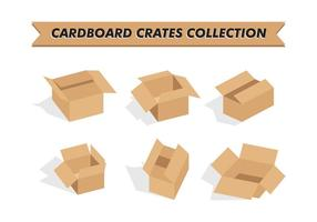 Kartonnen Kratten Collectie Vector Gratis