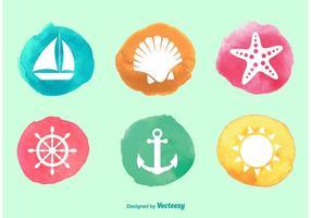 Waterverf oceaan pictogrammen vector