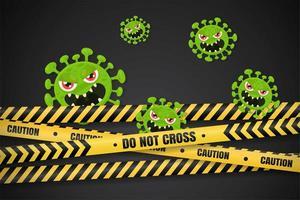 cartoon coronavirus geblokkeerd door politieband vector