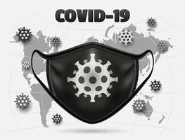 zwart coronavirus medisch masker over wereldkaart