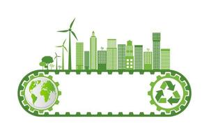 groene stad op transportband vector
