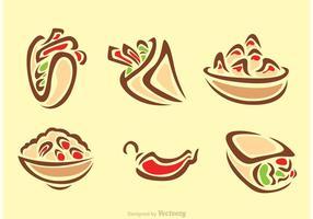 Stijlvolle Mexicaanse Voedsel Pictogrammen vector