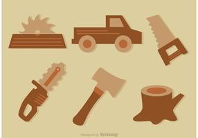 Timmerhout gereedschap vector iconen