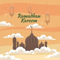 moskee gehuld in wolken voor ramadan vector