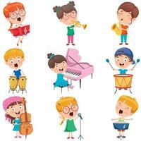kleine kinderen spelen verschillende instrumenten