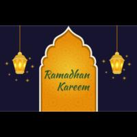 blauwe ramadan wenskaart met gloeiende lantaarns
