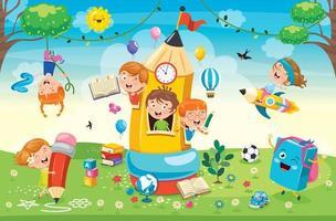 schattige kinderen spelen in potlood huis