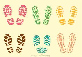 Kleurrijke Modderige Footprint Pictogrammen vector