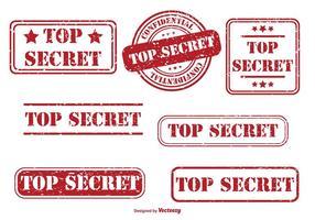 Top geheim rubber stempel set vector