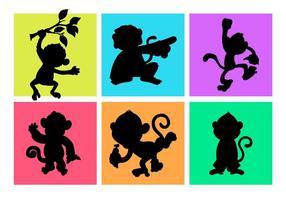 Cartoon apen silhouetten vrije vector