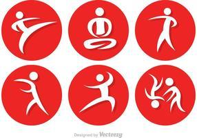 Aziatische Martial Arts Pictogrammen