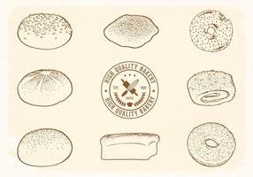 Gratis Handgetekende Bread Vector Set