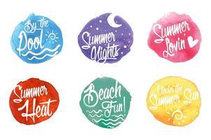 Waterverfde zomertijd etiketten vector