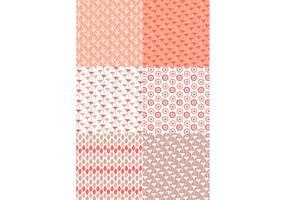 Pastel Rode Bloemenpatroon Set