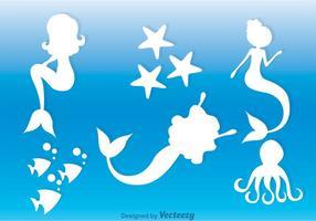 Wit zeemeerminnen silhouet vector