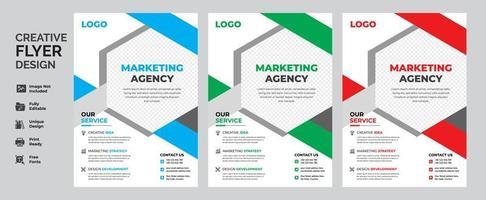 geometrische zakelijke flyer sjabloon ontwerpset